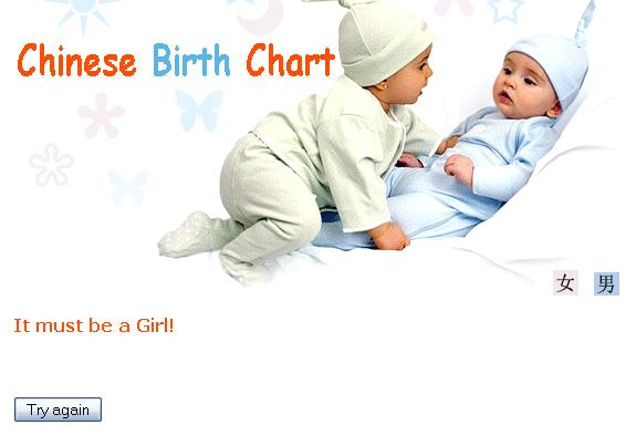 Chinese Birth Chart 2014 - predict baby gender